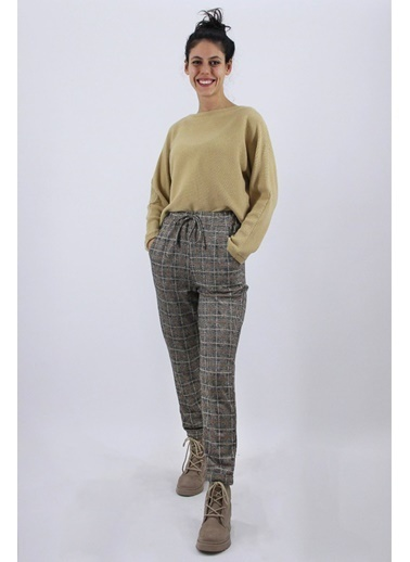 Nismia Yarasa Kol Kazak Ekose Pantolon Takımı Bej